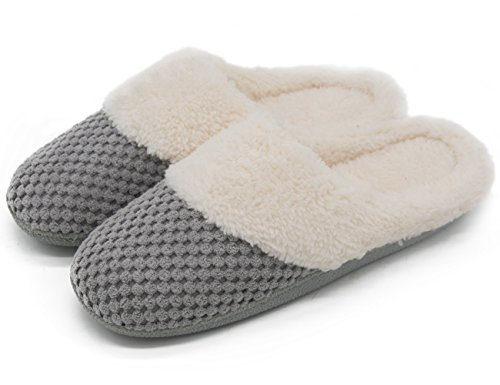UltraIdeas Women's Soft Gridding Coral Velvet Short Plush Lining Slip-on Memory Foam Clog Indoor Slippers (Medium / 7-8 B(M) US, Gray) (Woman House Slippers compare prices)