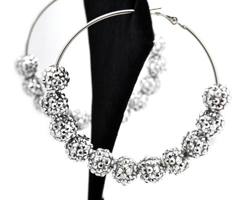 Basketball Wives POParazzi Inspired Ball Earrings Sje5006 Silver 83mm