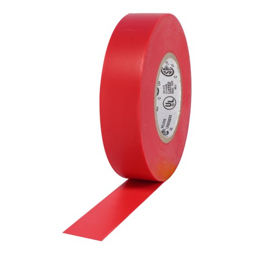 """Protapes Pro Plus Vinyl General Purpose Electrical Tape, 600V Dielectric Strength, 66' Length X 3/4"""" Width, Red (Pack Of 100)"""