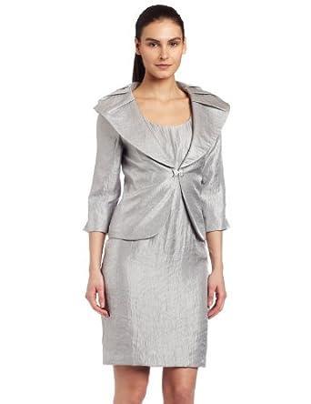 Jessica Howard Women's 2Pc Dress W/ Shawl Collar,Sil,6