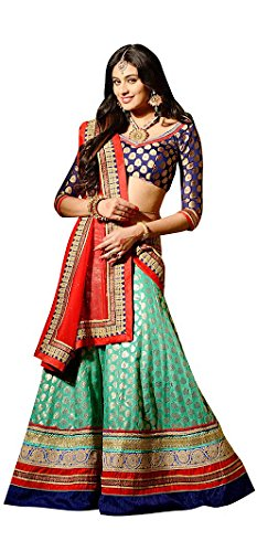 AASRI Women Wedding Wear Georgette Banarasi Chanderi Silk Lehenga Choli 2051 (Blue)