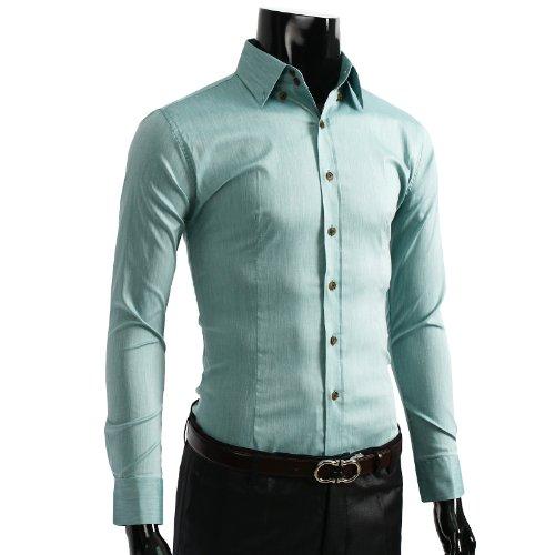9XIS Mens Casual Unicolor long Sleeve Dress Shirt LIGHTGREEN 3XL (R114D)