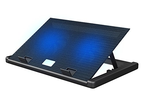 Superbpag Blue LED USB Powered Cooler Pad 2-Fans Adjustable Laptop Cooling Pad with Adjustable Laptop Stand,2 USB Port,Black