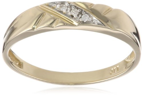 10k Yellow Gold Diagonal Diamond Women's Wedding Band (0.01 cttw, I-J Color, I2-I3 Clarity), Size 7
