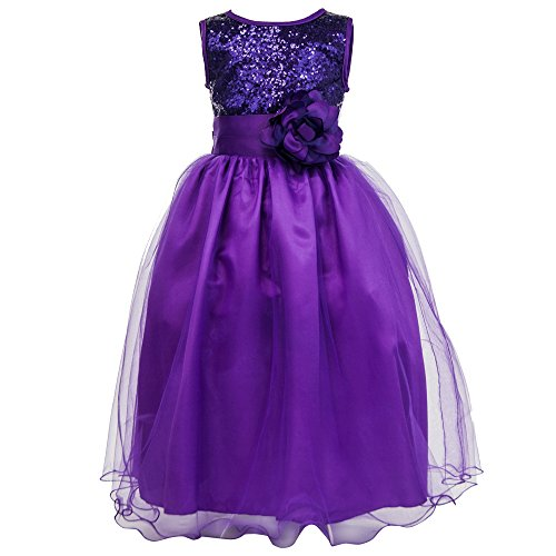 Sequin Dress with Flower Band - Purple 11-12 Years