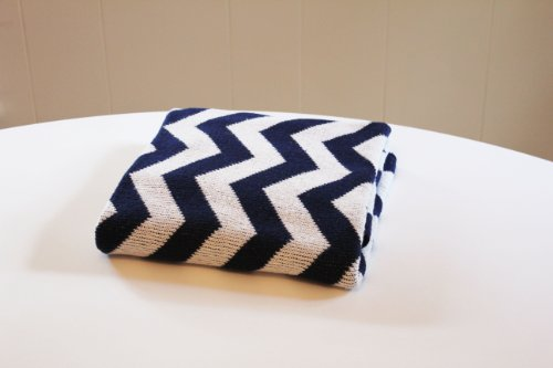Eco Friendly Cotton Baby Blanket - Chevron Navy - Made in USA - 1