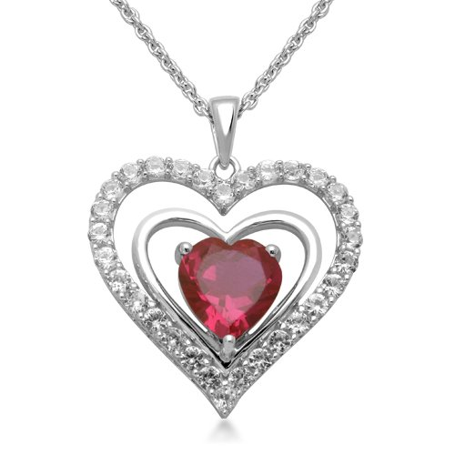 Sterling Silver Heart Created Ruby and Round Created White Sapphire Heart Pendant Necklace, 18