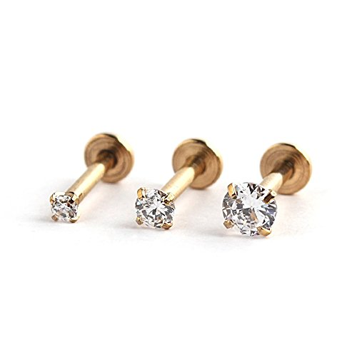 316L Stainless Steel Gold Plated 2mm/3mm/4mm Round CZ Gem Internally Threaded Labret Monroe Lip Ring Tragus Nail Helix Earring Stud Barbell Piercing Jewelry Set 16G 8mm 3pcs (Gem Labret compare prices)