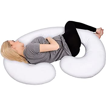 PharMeDoc Full Body Pregnancy Pillow - Maternity & Nursing Support Cushion w/ Washable Pillow Cover - C Shaped