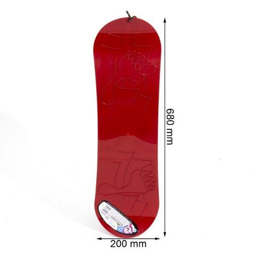 Planche-a-neige-Snowboard-rouge-demi-rond-plastique-ideal-pour-lhiver-L-68-cm