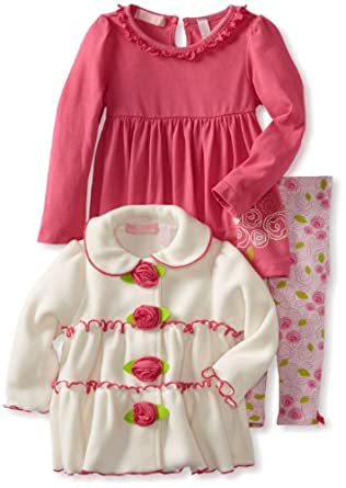 Kids Headquarters Baby-girls Infant Cream Jacket with Pink Long Sleeve Tee and Printed Leggings, Cream, 12 Months