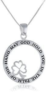 "Sterling Silver ""May God Hold You In The Palm Of His Hand "" Clover Pendant Necklace , 18"""
