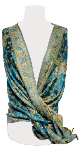 Reversible Paisley Pashmina Shawl Wrap In Elegant Colors (Turquoise) front-786261