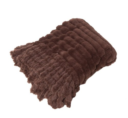 Scene Weaver Journey Faux Chinchilla Throw, 50 By 70-Inch, Brown front-281856