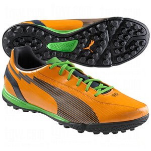 Puma Mens evoSpeed 5 Turf Soccer Shoes, 9 1/2, Orange/Charcoal/CLA
