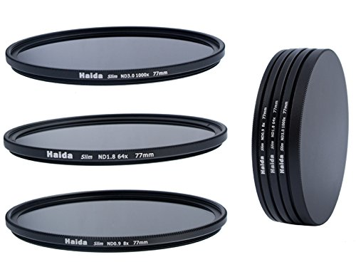 Slim Neutral Graufilter Set 77mm bestehend aus ND8, ND64, ND1000 Filtern 77mm inkl. Stack Cap Filtercontainer + Pro Lens Cap mit Innengriff