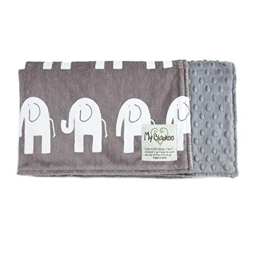 "My Blankee Dolce Vita Elefante Minky Oyster Snow w/ Minky Dot Charcoal Baby Blanket, 29"" x 35"""