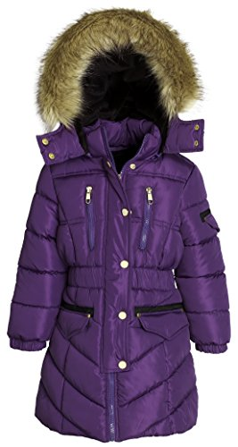 Sportoli Girls' Winter Heavy Quilt Padded Puffer Jacket Plush Lined Hooded Coat (Purple, 7/8) (Canada Winter Jacket compare prices)