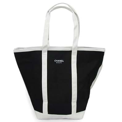 CHANEL シャネル トートバッグ ランチバッグ サブバッグ ロゴ ブラック×ホワイト 大サイズ 並行輸入品 AMI504
