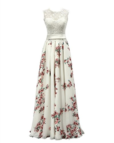 Chiffon Floral Print Wedding Dress A-line Women Lace Evening Gown