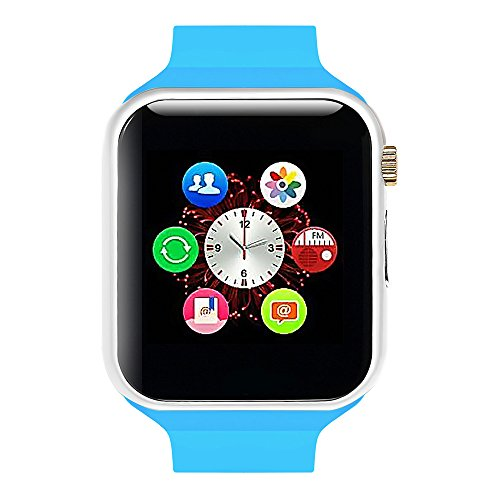 Lincass Smart Watch Bluetooth Fitness WristWatch with Camera Waterproof Smartwatch with Camera Pedometer Anti-lost Men Women Health Bracelet for Apple Iphone IOS Samsung Android Smartphone (Blue)