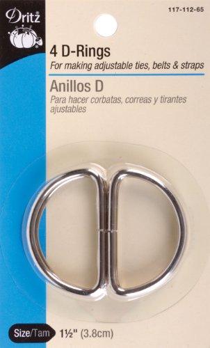 Dritz Metal Inch D Inch Rings 1-1/2 Inch 4/Pkg-Nickel