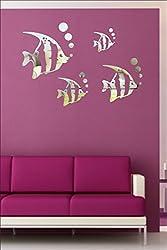 EJA Art Fish Aquarium Silver 3D Mirror Finish Acrylic Sticker