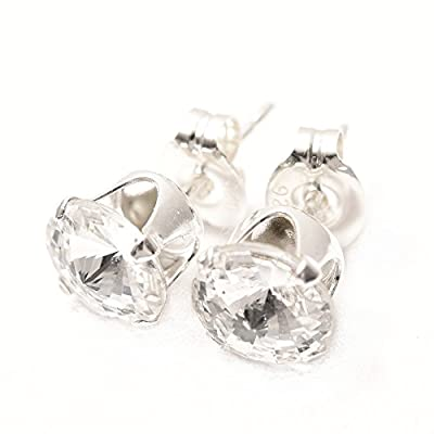 End of line clearance. 925 Silver stud earrings handmade with sparkling crystal from SWAROVSKI®.