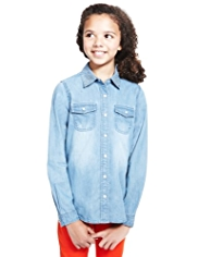 Pure Cotton Stud Embellished Denim Shirt