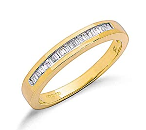 9ct Yellow Gold 0.25ctw Real Diamond Baguette Cut Eternity Ring