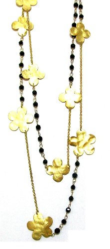 FRonay 14K Gold Plated Hammered Flowers Double Strand Black and Gold Necklace