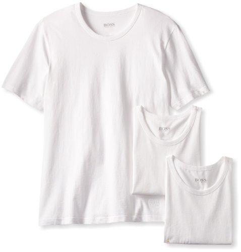 BOSS HUGO BOSS Men s 3-Pack Cotton Crew T-Shirt, White, Medium