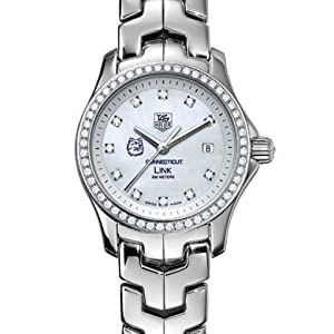 University of Connecticut Women's TAG Heuer Link Watch with Mother of Pearl Diamond Dial and Diamond Bezel