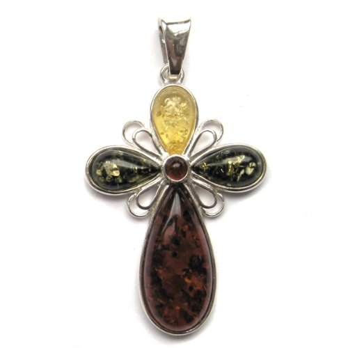Multicolor Amber and Sterling Silver Medium Cross Pendant