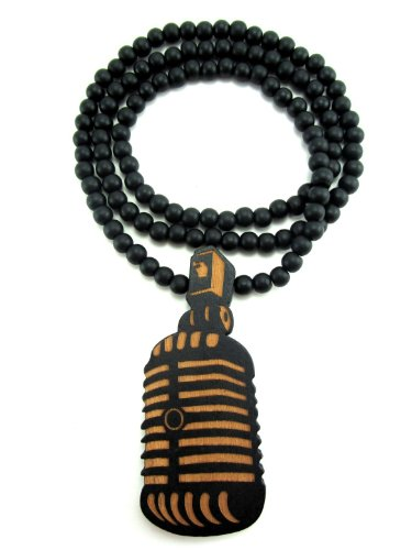 Large Wooden Microphone Mic Pendant Bead Chain Necklace All Good Wood Style! Two-Toned