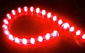 Cutequeen 24cm LED Car Flexible Waterproof Light Strip Red (pack of 4)
