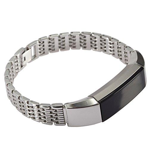 Greatfine Braccialetto del Silicone Banda di Ricambio per Fitbit Alta Smartwatch (Fine Silver)