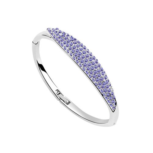 Dreamslink Fashion Jewellery 18K White Gold Plated Bangle Bracelet Purple Color Swarovski Elements Austria Crystal Fashion Luxurious Bangle Bracelet 93696