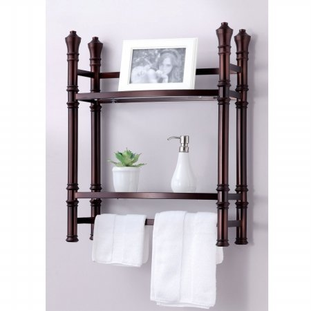 Towel Bar Bathroom Wall Mount Storage Organizer Rack Glass Shelves Decorative Ebay