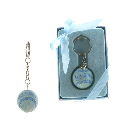 "Lunaura Baby Keepsake - Set of 12 ""Boy"" Baby Baseball Key Chain Favors - Blue"