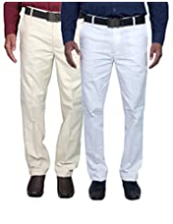 Routeen Men's Yotaka Regular Fit Formal Trousers - White, Beige (Combo Pack Of 2)