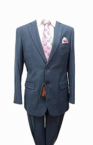 Men's Apollo King Light Blue 100% Wool Classic Fit Pinstripe 2 Button Suits (44L-36W)