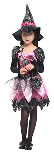 EOZY Kids Girl Halloween Sequins Cosplay Witch Costume Set 4-6 Years (Black Sequin Witch Costume)