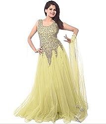 Clickedia Women's Net Semi Stitched Gown (Lemon Yellow Net Gown_Lemon YellowFree Size)