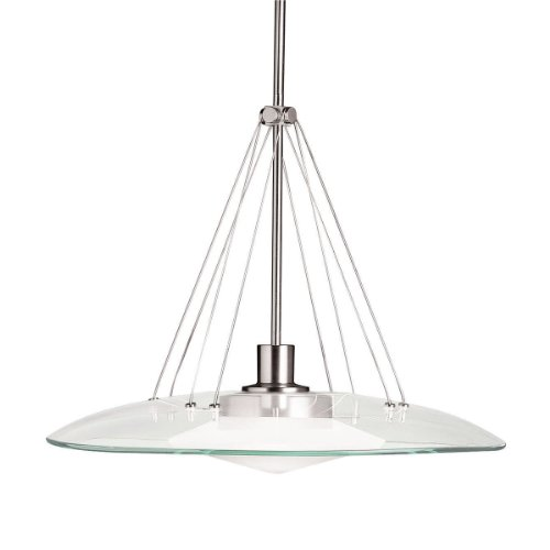 B001B9UFZO Kichler Lighting 2667NI Structures 1-Light Halogen Pendant, Brushed Nickel with Satin-Etched Glass