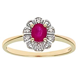 Ariel 9ct Yellow Gold Diamond and Ruby Cluster Women's Ring