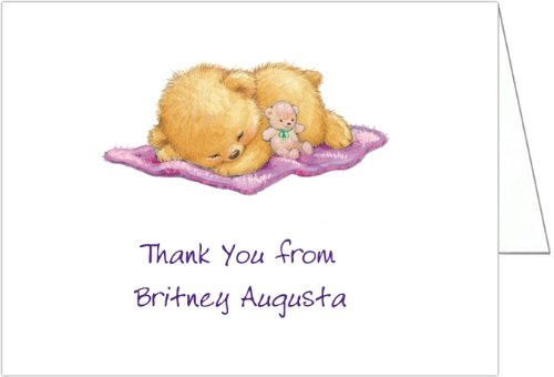 Naptime With Purple Blankey Baby Thank You Cards - Set Of 20 front-1020350