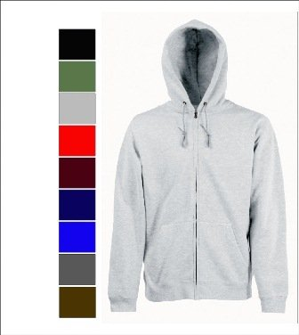 Fruit of the Loom Zip Through Hooded Sweat Shirt Jacket, Sweatshirt, Hoodie