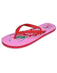 Avilite Women's Pink & Red Rubber Slippers