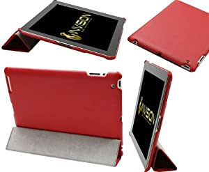 """Invision® New 2013 Premium Cross Pattern Design iPad 2, 3 & iPad 4 (with Retina Display) Case Cover in Red - Front & Back Protection Smart Cover With Magnetic Auto Wake & Sleep Function (PU) Leather with Soft Satin Inner Cloth lining - Premium Quality with Superior Design Features and Independently Recommended by """"Which?"""" Magazine. (Red iPad 2, 3 & 4 Case)"""